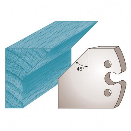 Jeu de 2 fers profilés Ht. 50 x 5,5 mm chanfrein 45° M205 pour porte-outils de toupie - Diamwood Platinum