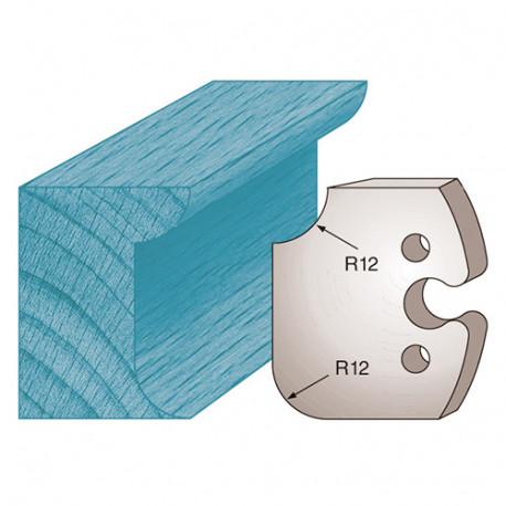 Jeu de 2 fers profilés Ht. 50 x 5,5 mm congé et quart de rond M206 pour porte-outils de toupie - Diamwood Platinum