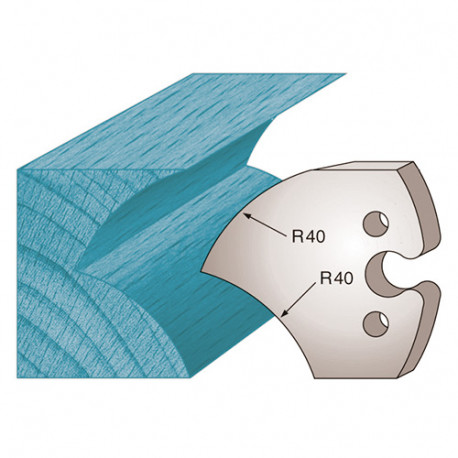 Jeu de 2 fers profilés Ht. 50 x 5,5 mm jet d'eau M209 pour porte-outils de toupie - Diamwood Platinum