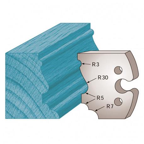 Jeu de 2 fers profilés Ht. 50 x 5,5 mm moulure Louis XV M210 pour porte-outils de toupie - Diamwood Platinum