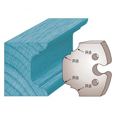 Jeu de 2 fers profilés Ht. 50 x 5,5 mm congé et quart de rond M214 pour porte-outils de toupie - Diamwood Platinum