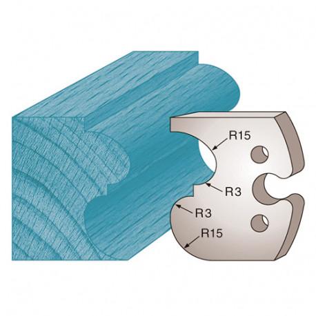 Jeu de 2 fers profilés Ht. 50 x 5,5 mm scotie et bec de corbin M216 pour porte-outils de toupie - Diamwood Platinum