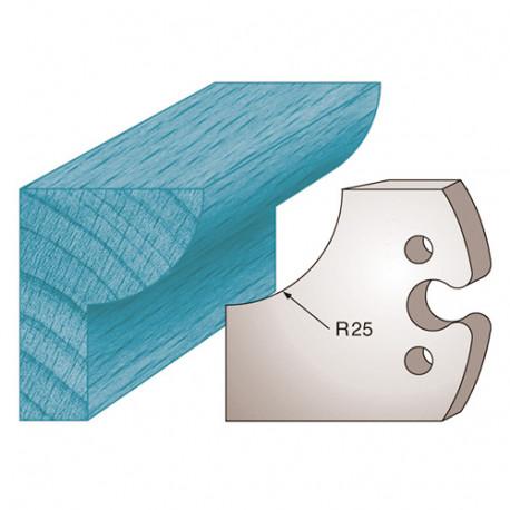Jeu de 2 fers profilés Ht. 50 x 5,5 mm quart de rond M219 pour porte-outils de toupie - Diamwood Platinum