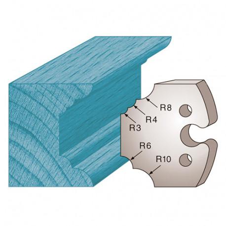 Jeu de 2 fers profilés Ht. 50 x 5,5 mm multi quart de rond M220 pour porte-outils de toupie - Diamwood Platinum