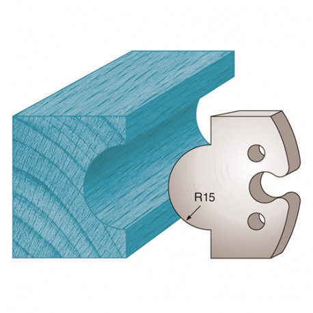 Jeu de 2 fers profilés Ht. 50 x 5,5 mm gueule de loup M226 pour porte-outils de toupie - Diamwood Platinum