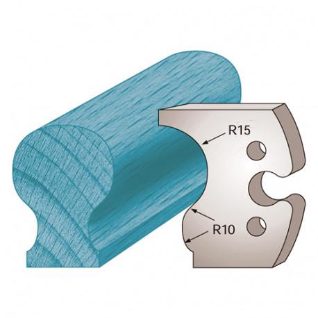 Jeu de 2 fers profilés Ht. 50 x 5,5 mm main courante M229 pour porte-outils de toupie - Diamwood Platinum