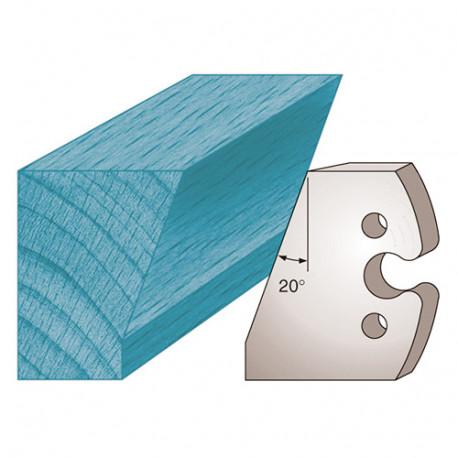 Jeu de 2 fers profilés Ht. 50 x 5,5 mm chanfrein 30° M230 pour porte-outils de toupie - Diamwood Platinum
