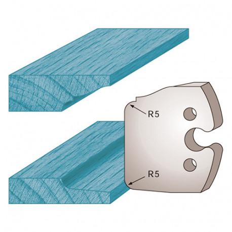 Jeu de 2 fers profilés Ht. 50 x 5,5 mm double plate-bande M231 pour porte-outils de toupie - Diamwood Platinum