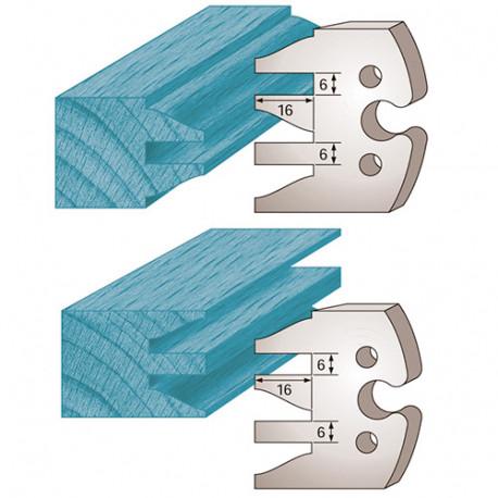 Jeu de 2 fers profilés Ht. 50 x 5,5 mm profil / contre-profil M232 pour porte-outils de toupie - Diamwood Platinum