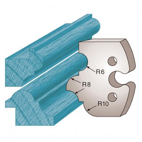 Jeu de 2 fers profilés Ht. 50 x 5,5 mm profils multiples M233 pour porte-outils de toupie - Diamwood Platinum