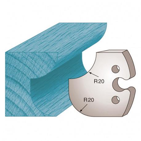 Jeu de 2 fers profilés Ht. 50 x 5,5 mm congé et quart de rond M238 pour porte-outils de toupie - Diamwood Platinum