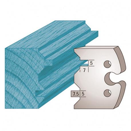 Jeu de 2 fers profilés Ht. 50 x 5,5 mm spécial volet / lambris M239 pour porte-outils de toupie - Diamwood Platinum