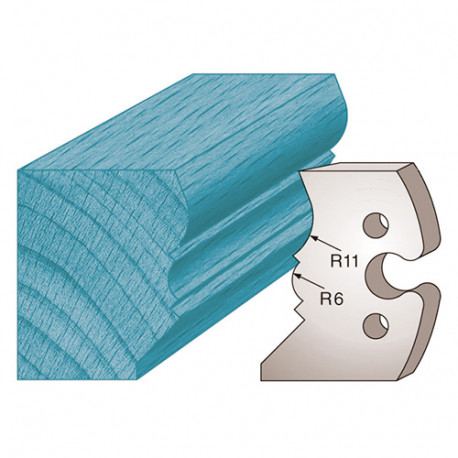 Jeu de 2 fers profilés Ht. 50 x 5,5 mm mouchette de corniche M241 pour porte-outils de toupie - Diamwood Platinum