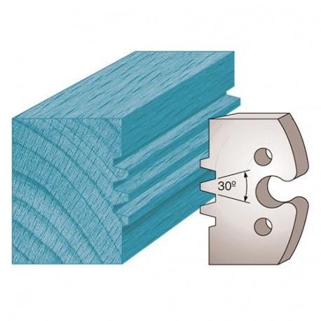 Jeu de 2 fers profilés Ht. 50 x 5,5 mm double trapèze M246 pour porte-outils de toupie - Diamwood Platinum