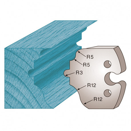 Jeu de 2 fers profilés Ht. 50 x 5,5 mm moulure style M256 pour porte-outils de toupie - Diamwood Platinum