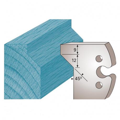 Jeu de 2 fers profilés Ht. 50 x 5,5 mm chanfrein avec carré M271 pour porte-outils de toupie - Diamwood Platinum