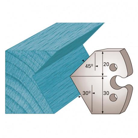 Jeu de 2 fers profilés Ht. 50 x 5,5 mm chanfrein 45 et 30° M272 pour porte-outils de toupie - Diamwood Platinum