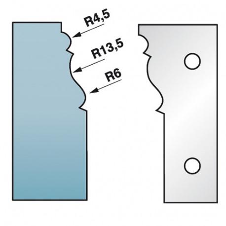 Jeu de 2 fers profilés Ht. 90 x 5,5 mm corniche N°1 M590.301 pour porte-outils de toupie - Diamwood Platinum