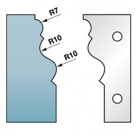 Jeu de 2 fers profilés Ht. 90 x 5,5 mm corniche N°2 M590.302 pour porte-outils de toupie - Diamwood Platinum