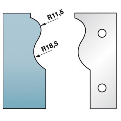 Jeu de 2 fers profilés Ht. 90 x 5,5 mm corniche N°3 M590.303 pour porte-outils de toupie - Diamwood Platinum