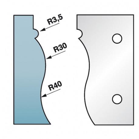 Jeu de 2 fers profilés Ht. 90 x 5,5 mm corniche N°4 M590.322 pour porte-outils de toupie - Diamwood Platinum