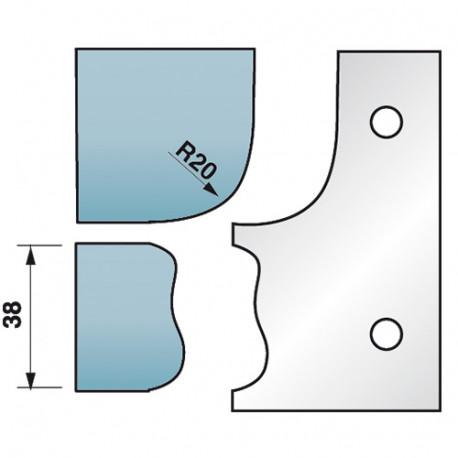 Jeu de 2 fers profilés Ht. 90 x 5,5 mm corniche N°5 M590.323 pour porte-outils de toupie - Diamwood Platinum