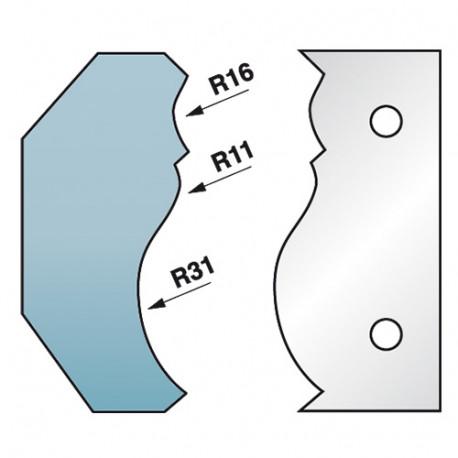 Jeu de 2 fers profilés Ht. 90 x 5,5 mm corniche N°6 M590.351 pour porte-outils de toupie - Diamwood Platinum