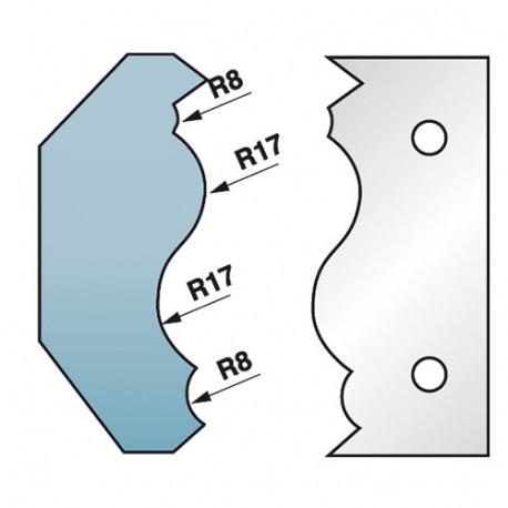 Jeu de 2 fers profilés Ht. 90 x 5,5 mm corniche N°7 M590.352 pour porte-outils de toupie - Diamwood Platinum