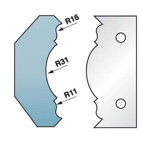 Jeu de 2 fers profilés Ht. 90 x 5,5 mm corniche N°8 M590.353 pour porte-outils de toupie - Diamwood Platinum