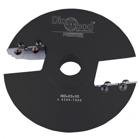 Porte-outils de toupie plate-bande par-dessus D. 180 x Al. 30 x Ep. 28 x P. 50 mm Z 2 - Diamwood Platinum