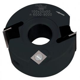 Porte-outils de toupie à feuillurer et profiler D. 100 x Al. 30 x Ht. 50 mm Z 2 et V 1+1 - fixtout Platinum