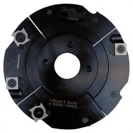 Porte-outils de toupie à rainure extensible D. 120 x Al. 30 x Ep. 4 à 7,5 x P. 28 mm Z 2+2 et V 2+2 - fixtout Platinum