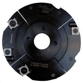 Porte-outils de toupie à rainure extensible D. 120 x Al. 30 x Ep. 5 à 9,5 x P. 28 mm Z 2+2 et V 2+2 - fixtout Platinum