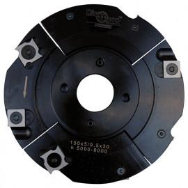 Porte-outils de toupie à rainure extensible D. 150 x Al. 30 x Ep. 5 à 9,5 x P. 39 mm Z 2+2 et V 2+2 - fixtout Platinum