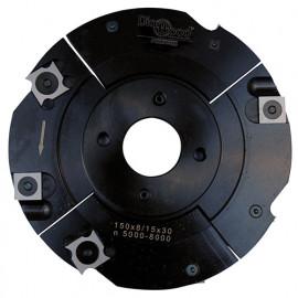 Porte-outils de toupie à rainure extensible D. 150 x Al. 30 x Ep. 8 à 15 x P. 39 mm Z 2+2 et V 2+2 - fixtout Platinum