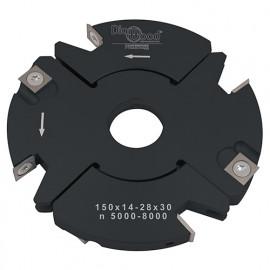 Porte-outils de toupie à feuillurer et tenonner D. 150 x Al. 30 x Ep. 14 à 28 x P. 59 mm Z 2+2 et V 2+2 - fixtout Platinum