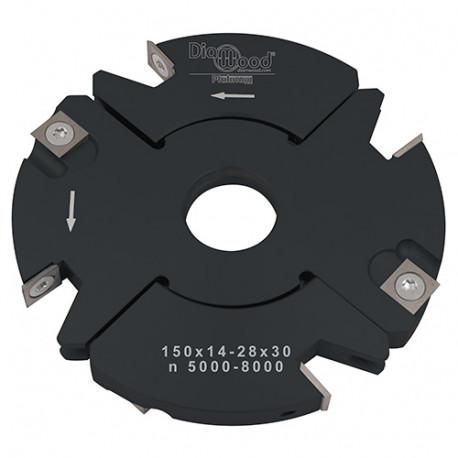 Porte-outils de toupie à feuillurer et tenonner D. 150 x Al. 30 x Ep. 14 à 28 x P. 59 mm Z 2+2 et V 2+2 - Diamwood Platinum
