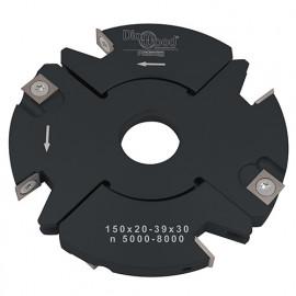 Porte-outils de toupie à feuillurer et tenonner D. 150 x Al. 30 x Ep. 20 à 39 x P. 59 mm Z 2+2 et V 2+2 - fixtout Platinum