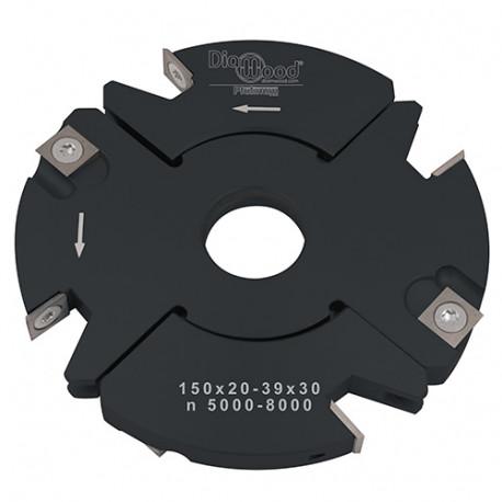 Porte-outils de toupie à feuillurer et tenonner D. 150 x Al. 30 x Ep. 20 à 39 x P. 59 mm Z 2+2 et V 2+2 - Diamwood Platinum