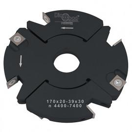 Porte-outils de toupie à feuillurer et tenonner D. 170 x Al. 30 x Ep. 20 à 39 x P. 69 mm Z 2+2 et V 2+2 - fixtout Platinum