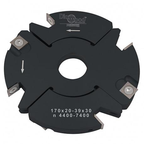 Porte-outils de toupie à feuillurer et tenonner D. 170 x Al. 30 x Ep. 20 à 39 x P. 69 mm Z 2+2 et V 2+2 - Diamwood Platinum