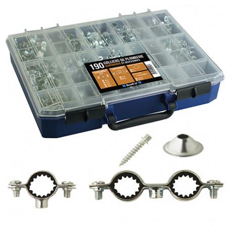 Coffret de 190 colliers sanitaires isophoniques simples et doubles en acier zingué blanc et accessoires - COF-SANCSI - Scell-it