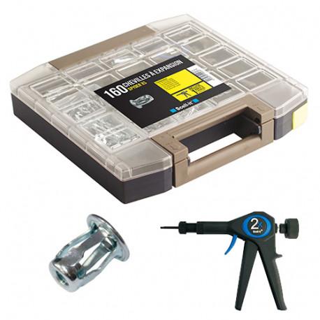 Coffret de 160 chevilles Spyder XS sans vis pour cloisons fines et plaques métal avec pince à expansion 2x - COF-XS - Scell-it