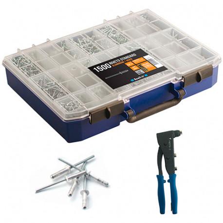 Coffret de 1500 rivets standard aluminium-acier avec pince à riveter professionnelle - COF001 - Scell-it