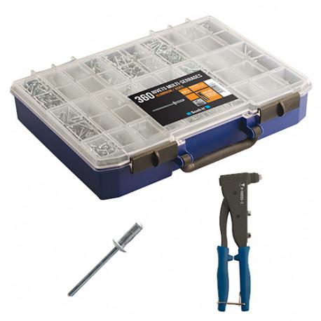 Coffret de 360 rivets multi-serrages avec pince à riveter professionnelle - COF500 - Scell-it