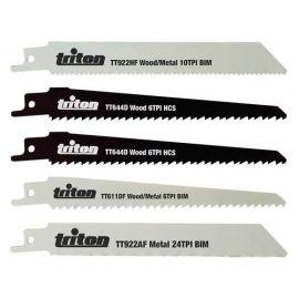 Assortiment de 5 lames de scie sabre 150 mm Bois - Métal - 954242 - Triton