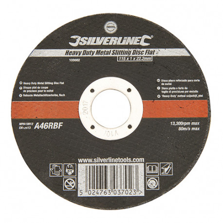 Disque plat à trançonner le métal usage intensif D.115 x 1,2 x 22,23 mm - 103662 - Silverline