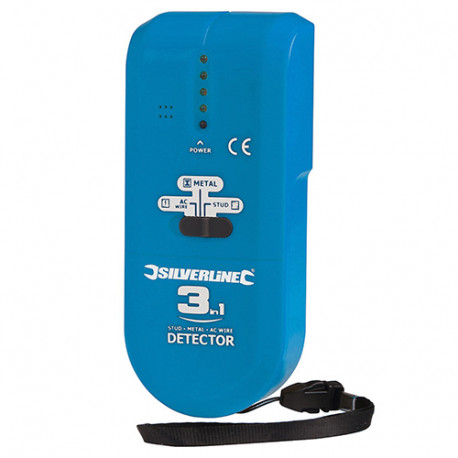 Détecteur 3-en-1 compact - 1 pile 9 V (PP3) - 477936 - Silverline