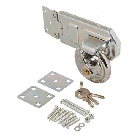 Ensemble 2 pièces cadenas circulaire et moraillon en acier 70 mm - 492211 - Silverline
