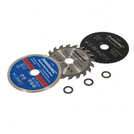Ensemble de 3 mini-lames de scies D.85 mm - Alésage 15 mm - 604320 - Silverline